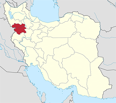 Kurdistan location in Iran's map